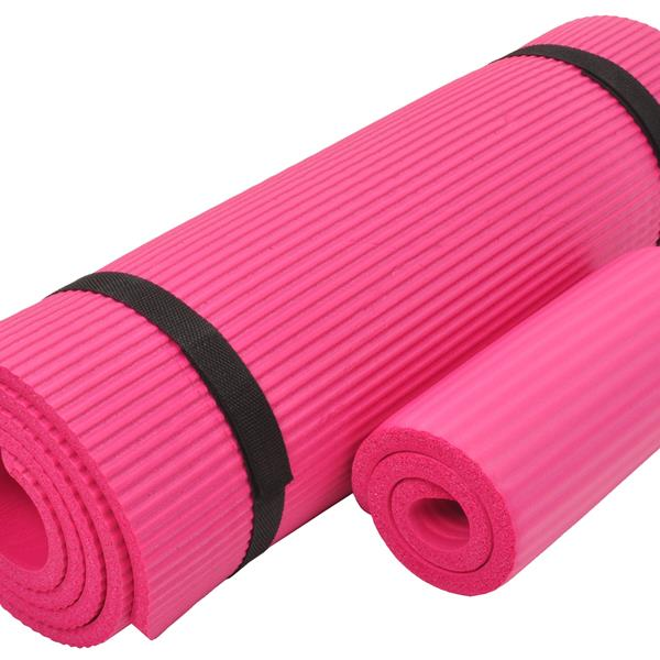 BalanceFrom GoYoga+ All-Purpose 1/2-Inch Extra Thick High Density Anti-Tear Exercise Yoga Mat and Knee Pad with Carrying Strap, Pink