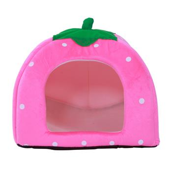 Soft Cotton Cute Strawberry Style Multi-purpose Pets Dog Cat House Nest Yurt Size L Pink