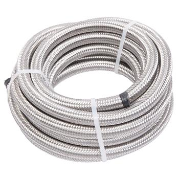 8AN 20-Foot Universal Stainless Steel Braided Fuel Hose Silver