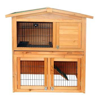 """40"""" Triangle Roof Waterproof Wooden Rabbit Hutch A-Frame Pet Cage Wood Small House Chicken Coop Natu"""