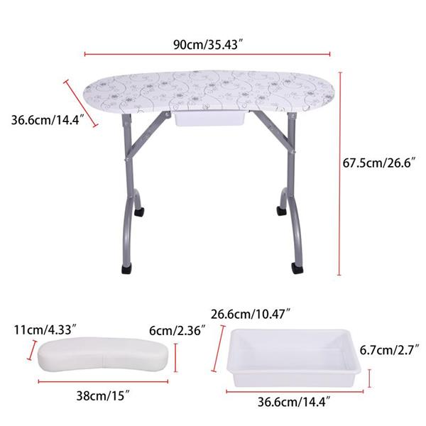 Nail table-LIFELEADS nail station portable foldable nail station spa salon, with lockable wheels, sponge wrist pad, large capacity drawer, carrying bag-white