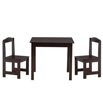 [60 x 60 x 52]cm MDF Simple Children's Table and Chair Set of 3 1 Table 2 Chairs Brown