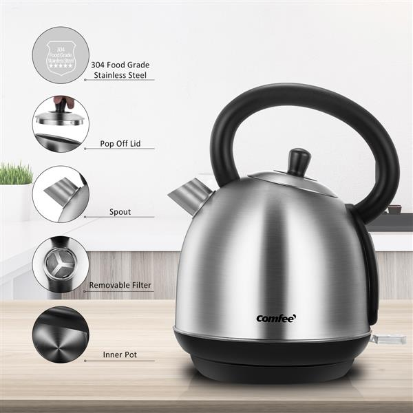 Ban on Amazon platform salesCOMFEE' 1.8L Stainless Steel Inner Pot and Lid Electric Kettle with Removable Water Filter and Large Spout. Auto Shut-off & Boil-dry Protection, 1500W