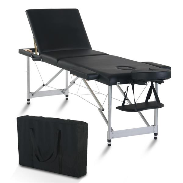 "84"" 3 Sections Folding Portable Aluminum Foot Beauty Massage Bed 60CM Wide Adjustable Height Black"