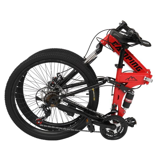 [Camping Survivals] 24-Inch 21-Speed Folding Mountain Bike Red
