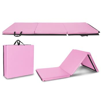 "6'x2'x2"" Tri-fold Gymnastics Yoga Mat with Hand Buckle Pink"