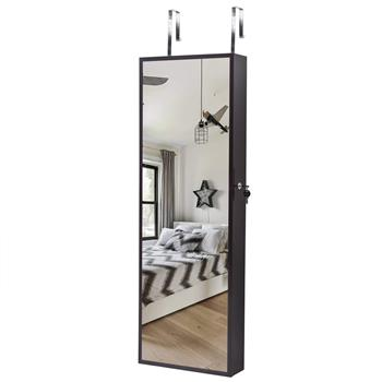 Full Mirror Wooden Wall Mounted 3-Layer Shelf 17 Cosmetic Brush Holders With Inner Mirror 8 Blue LED Light Mirror Cabinets - Dark Brown