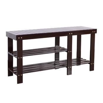 90cm Strip Type Bamboo Stool Shoe Rack with Boots Compartment Coffee