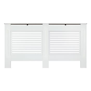 MDF Wood Radiator Cover Board Stripe Pattern White Painted L