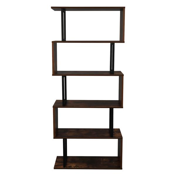 5-Tier Industrial Easy-Assembly Metal Frame Bookcase Storage Shelf for Living Room, Narrow, Bedroom, Office