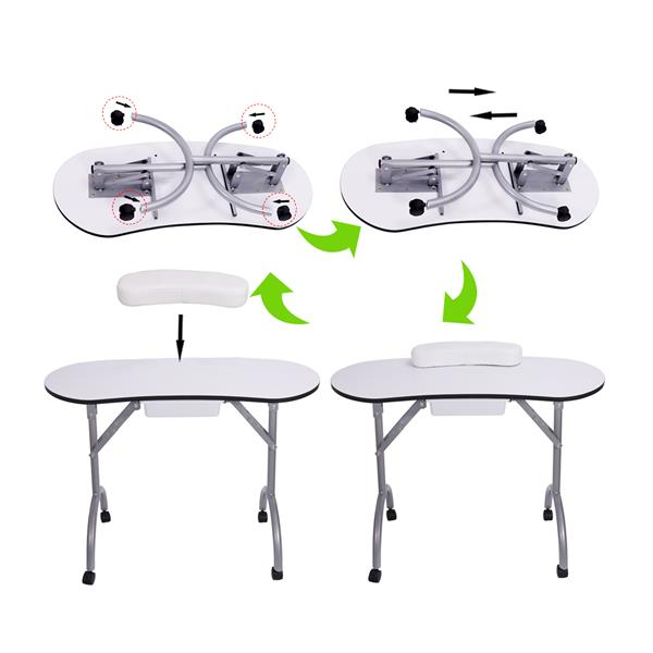 【LIFELEADS】Detachable portable folding nail table with 360 degree rotating wheels and large capacity drawer-white(We will temporarily not ship from February 9th, and resume delivery on February 27th)