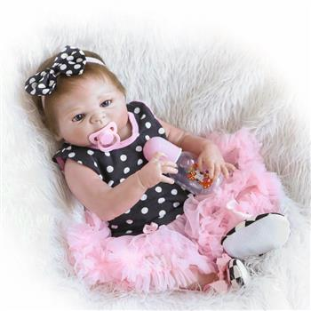 "23"" Beautiful Full Simulation Silicone Baby Girl Reborn Baby Doll in Dots Pattern Dress"
