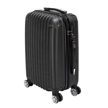 20 inch Waterproof Spinner Luggage Travel Business Large Capacity Suitcase Bag Rolling Wheels Black Color