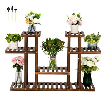 Artisasset 4-Story 12-Seat Indoor And Outdoor Multi-Function Carbonized Wood Plant Stand
