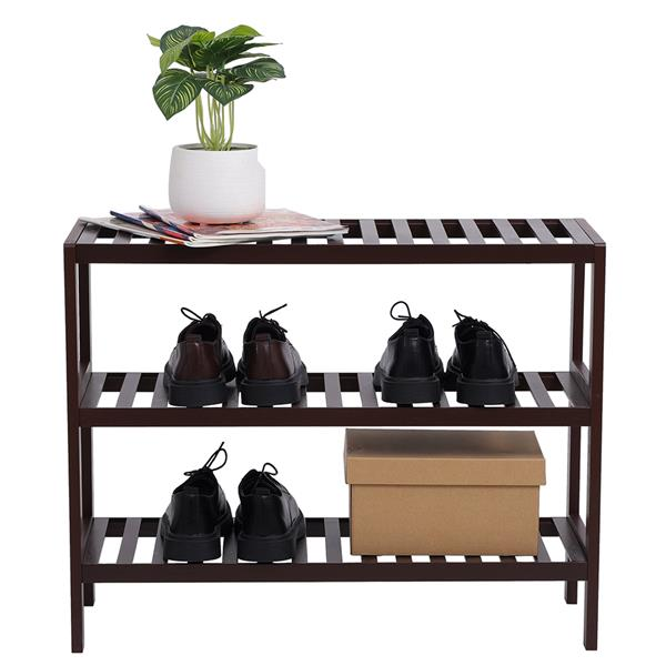100% Bamboo Shoe Rack Bench, Shoe Storage, 3-Layer Multi-Functional Cell Shelf, Can Be Used For Entrance Corridor, Bathroom, Living Room And Corridor 70 * 25 * 55 Dark Brown