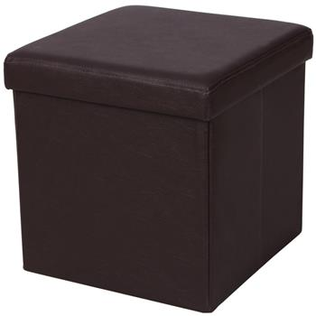 FL-01S Practical PVC Leather Square Shape Footstool Brown