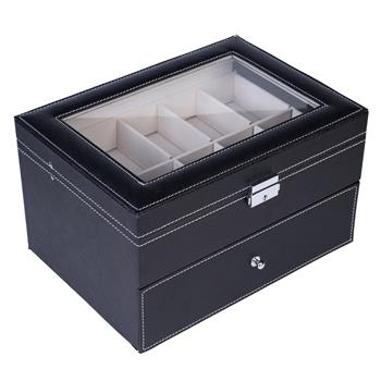 20 Compartments Dual Layers Elegant Wooden Watch Collection Box Black