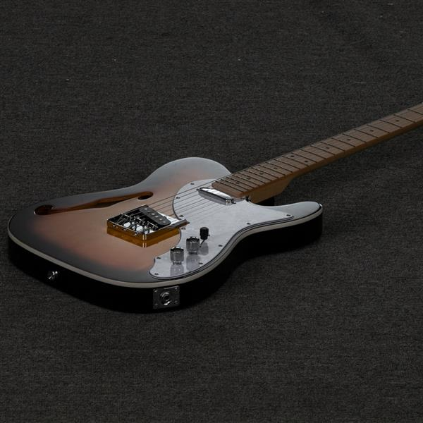 Glarry GTL Semi-Hollow Electric Guitar F Hole SS Pickups Maple Fingerboard White Pearl Pickguard Sunset Color