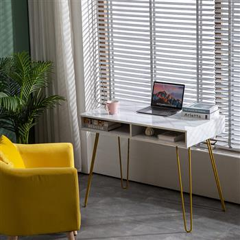 Marble Iron Foot Computer Table [103x55x80cm] White