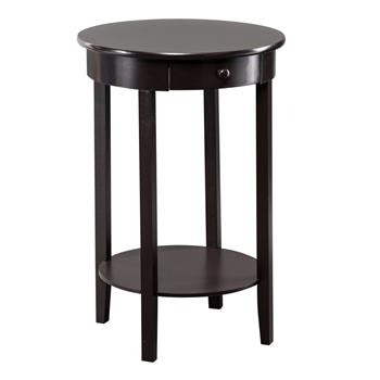 Simple Round With Drawer Side Coffee Table Brown
