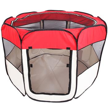 """HOBBYZOO 36"""" Portable Foldable 600D Oxford Cloth & Mesh Pet Playpen Fence with Eight Panels Red"""