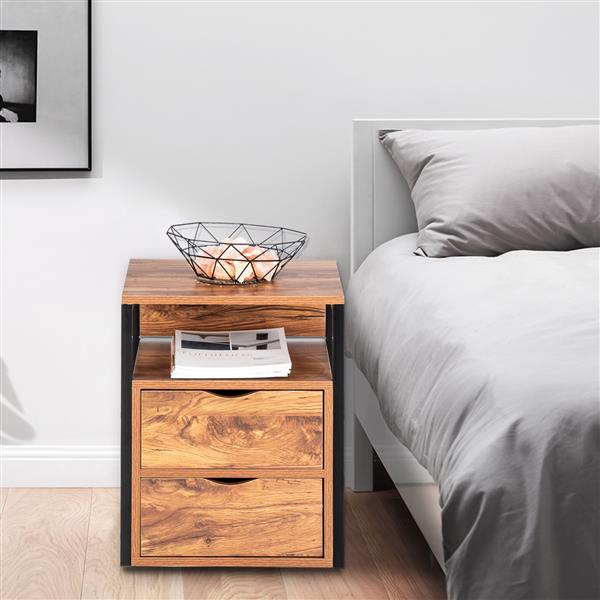 Steel Frame Two Draw Bedside Table