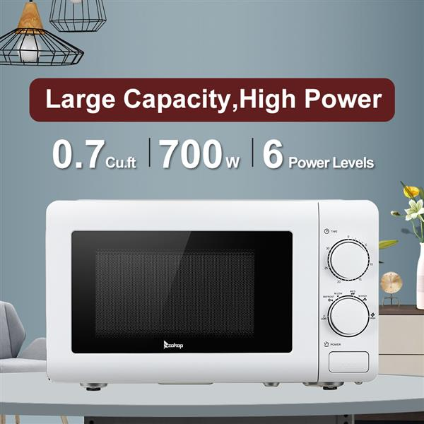 ZOKOP 20MX60-L/White 20L/0.7cuft Conventional Microwave Oven Mechanical Knob / Button Door Switch