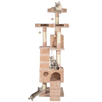 """66"""" Sisal Hemp Cat Tree Tower Condo Furniture Scratch Post Pet House Play Kitten with Cozy Perches Beige"""