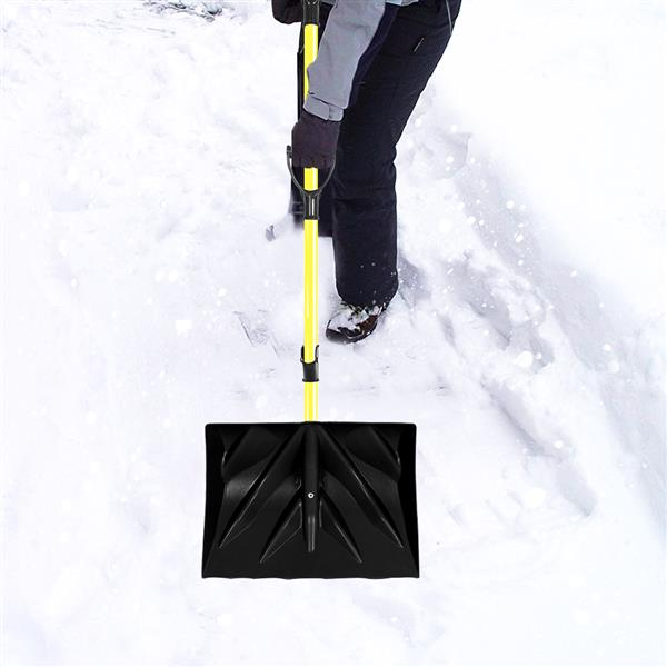 Strain-Reducing Snow Shovel | Yellow | 18-Inch | Spring Assisted Handle