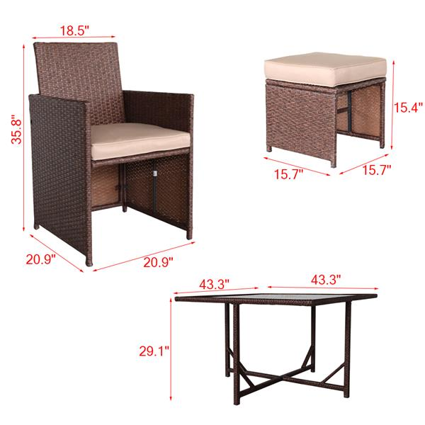 9 Pieces Wood Grain PE Wicker Rattan Dining Ottoman with Tempered Glass Table Patio Furniture Set (Carton 3)