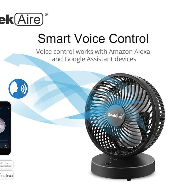 Ban on Amazon platform salesGeek Aire Portable table fan, rechargeable, 5 Speed Settings, WIFI function, Compatible with Alexa & Google Home supported, black