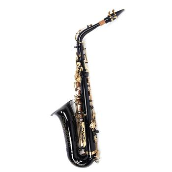 Be Brass Carving Pattern Pearl White Shell Button Saxophone with Strap Black