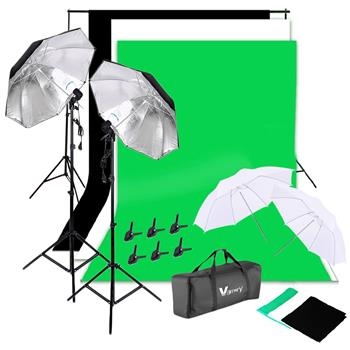 Kshioe 135W Silver Black Umbrellas with Background Stand Non-Woven Fabric (Black & White & Green) Set UK