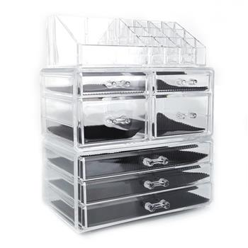 SF-1122-3 Plastic Cosmetics Storage Rack 4 Small Drawers and 3 Larger Drawers Transparent