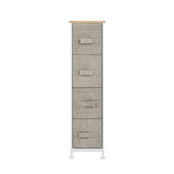 "Narrow Dresser, Vertical Storage Unit With 4 Fabric Drawers, Metal Frame, Slim Storage Tower, 7.9"" Width, For Living Room, Kitchen, Small Space, Gap, Linen / Natural"