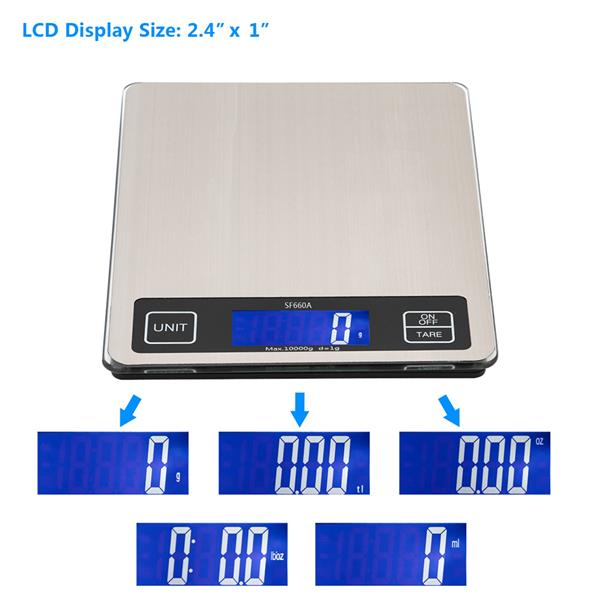 SF-660A 22*17cm Platform 10kg/1g Touch Screen Multi - Unit Switch Kitchen Scale Stainless Steel Countertop