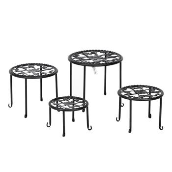 Artisasset 4 Round Ironwork Plant Racks With 4-1 Black Paint Prints