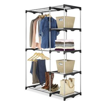 Portable Practical Five-tier Wardrobe without Cloth Cover Silver