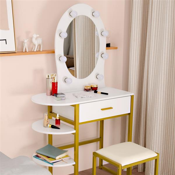 FCH Special-shaped Mirror Single Drawer Three-layer Frame-Steel Frame Dresser White