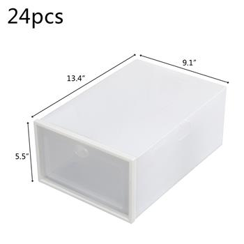 Shoe Storage Boxes 24 Pack Clear Plastic Stackable -White