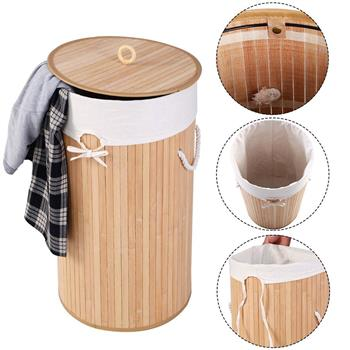 Barrel Type Bamboo Folding Basket Body with Cover Wood Color