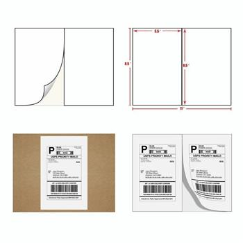 100 Premium 8.5 X 5.5 Half Sheet Shipping Labels self adhesive