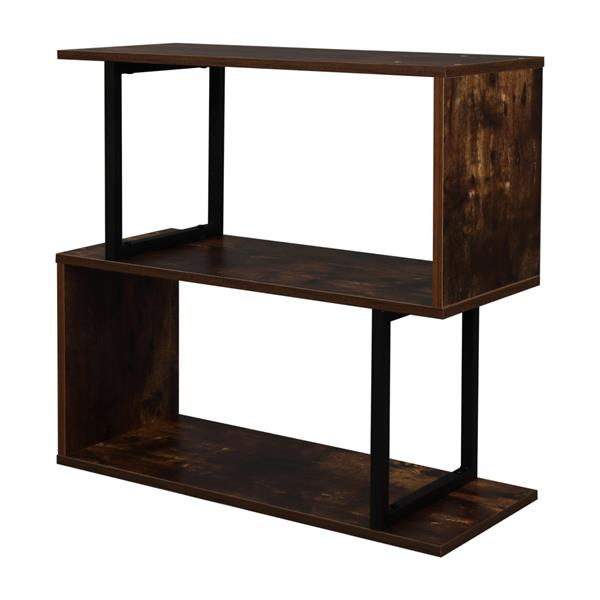 2-Tier Industrial Easy-Assembly Metal Frame Bookcase Storage Shelf for Living Room, Narrow, Bedroom, Office