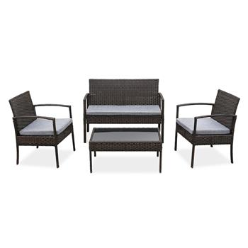 4 PCS Outdoor Patio Rattan Wicker Furniture Set with Table Sofa Cushioned Light Grey