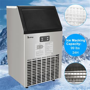 ZOKOP HZB-45 270W-500W 99Lbs 115V 60Hz Stainless Steel Commercial Ice Maker Black US Plug