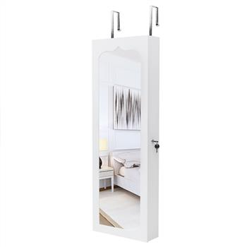 Non Full Mirror Wooden Wall Mounted 4-Layer Shelf 6 Drawers 8 Blue LED Light Jewelry Storage Mirror Cabinet - White