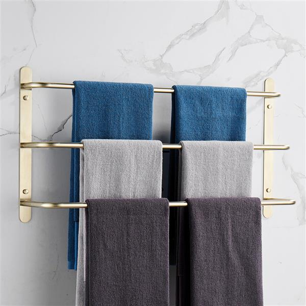 THREE Stagger Layers Towel Rack 304 Stainless Steel Towel Bars Bathroom Accessories Set Brushed Gold 27.56 inches KJWY003JIN-70CM