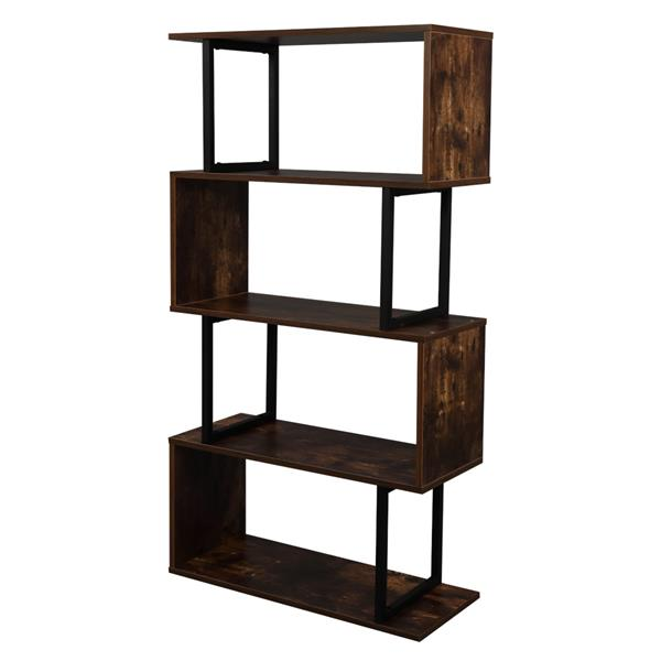 4-Tier Industrial Easy-Assembly Metal Frame Bookcase Storage Shelf for Living Room, Narrow, Bedroom, Office