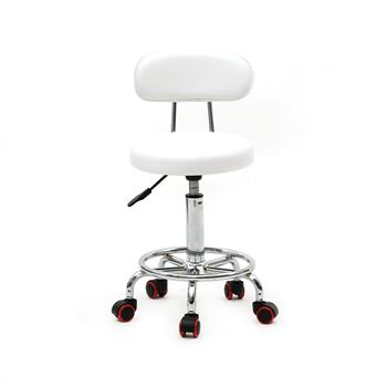 Round Shape Adjustable Salon Stool with Back and Line White