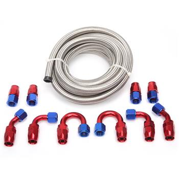 10AN 16-Foot Universal Silver Fuel Pipe   10 Red and Blue Connectors